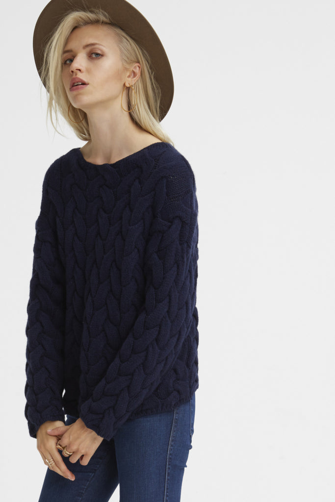 Plait Cable Sweater | Navy - Banjo & Matilda | International  - 5