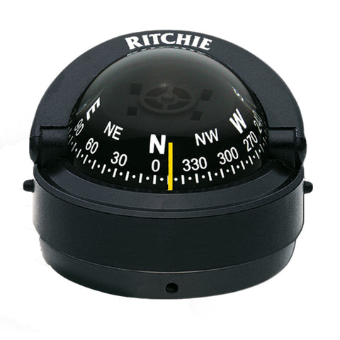 Ritchie S-53 Explorer Compass - Surface Mount - Black - Reel Draggin' Tackle