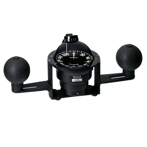 Ritchie YB-500 Globemaster Compass - Yoke Mounted - Black - 5 Degree card - 12V - Reel Draggin' Tackle