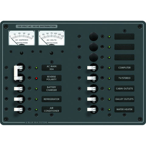 Blue Sea 8076 AC Main +11 Positions Toggle Circuit Breaker Panel   (White Switches) - Reel Draggin' Tackle