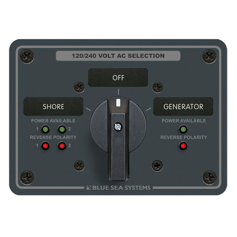 Blue Sea AC Rotary Switch Panel 65 Ampere 2 Positions + OFF, 4 Pole - Reel Draggin' Tackle