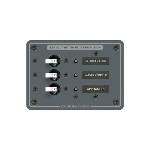 Blue Sea 8058 AC 3 Position Toggle Circuit Breaker Panel  (White Switches) - Reel Draggin' Tackle
