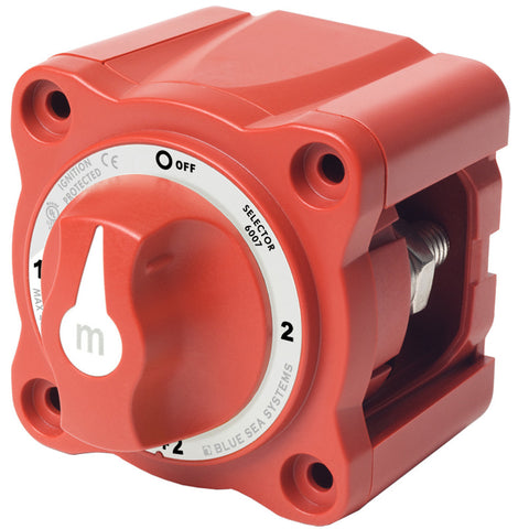Blue Sea 6007 m-Series (Mini) Battery Switch Selector Four Position Red - Reel Draggin' Tackle