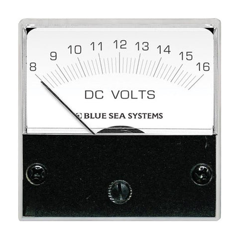 "Blue Sea 8028 DC Analog Micro Voltmeter - 2"" Face, 8-16 Volts DC - Reel Draggin' Tackle"