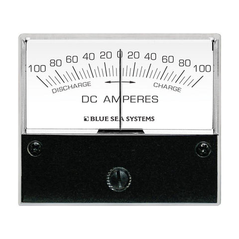 "Blue Sea 8253 DC Zero Center Analog Ammeter - 2-3/4"" Face, 100-0-100 Amperes DC - Reel Draggin' Tackle"