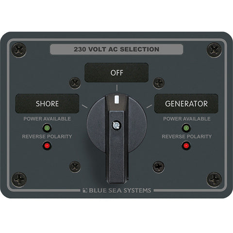 Blue Sea 8357 AC Rotary Switch Panel 65 Ampere 2 Position + OFF, 2 Pole - Reel Draggin' Tackle