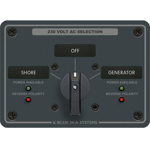 Blue Sea 8359 AC Rotary Switch Panel 30 Ampere 2 Positions + OFF, 2 Pole - Reel Draggin' Tackle