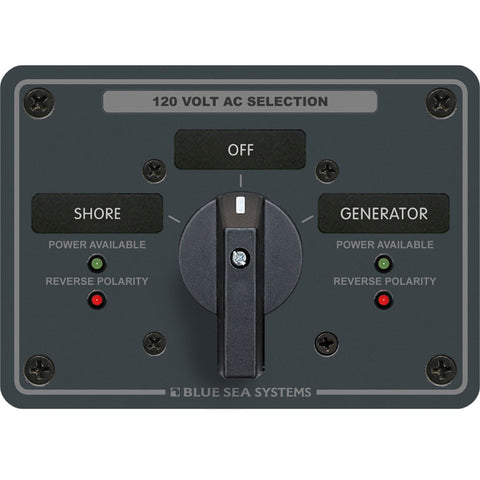 Blue Sea 8365 AC Rotary Switch Panel 65 Ampere 2 Positions + OFF, 2 Pole - Reel Draggin' Tackle