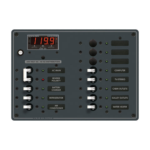 Blue Sea 8507 Breaker Panel - AC Main + 11 Position (European) - White - Reel Draggin' Tackle