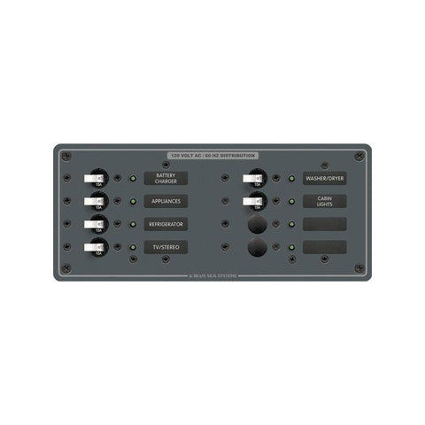 Blue Sea 8511 AC 8 Position 230v (European) Breaker Panel (White Switches - Reel Draggin' Tackle