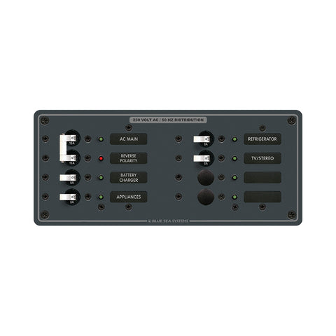 Blue Sea 8512 Breaker Panel - AC Main + 6 Position - White - Reel Draggin' Tackle
