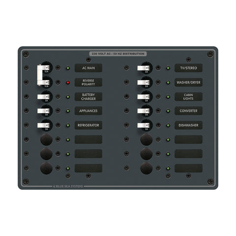 Blue Sea 8564 Breaker Panel - AC Main + 14 Positions (European) - White - Reel Draggin' Tackle