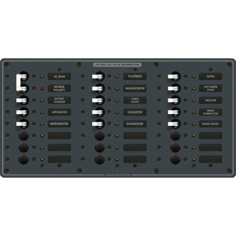 Blue Sea 8565 Breaker Panel - AC Main + 22 Positions (European) - White - Reel Draggin' Tackle