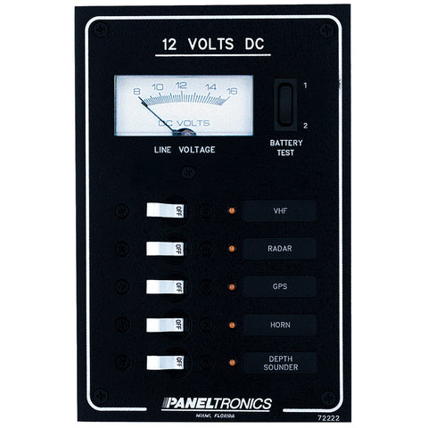 Paneltronics Standard DC 5 Position Breaker Panel & Meter w/LEDs - Reel Draggin' Tackle