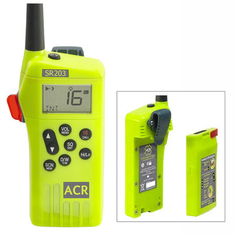 ACR SR203 GMDSS Survival Radio w/Replaceable Lithium Battery & Rechargable Lithium Polymer Battery & Charger - Reel Draggin' Tackle