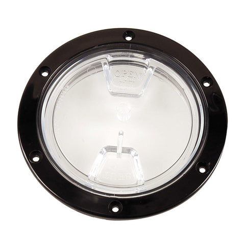 "Beckson 4"" Clear Center Screw Out Deck Plate - Black - Reel Draggin' Tackle"