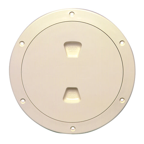 "Beckson 6"" Smooth Center Screw-Out Deck Plate - Beige - Reel Draggin' Tackle"