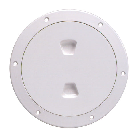 "Beckson 6"" Smooth Center Screw-Out Deck Plate - White - Reel Draggin' Tackle"