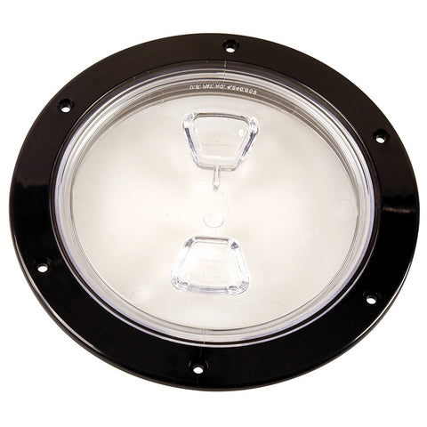 "Beckson  6"" Clear Center Screw-Out Deck Plate - Black - Reel Draggin' Tackle"