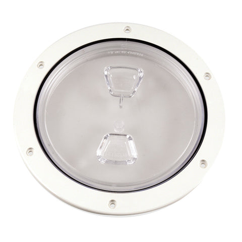 "Beckson 6"" Clear Center Screw Out Deck Plate - White - Reel Draggin' Tackle"