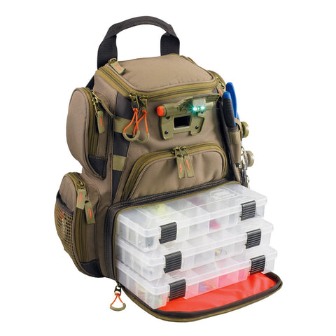 Wild River RECON Lighted Compact Tackle Backpack w/4 PT3500 Trays - Reel Draggin' Tackle
