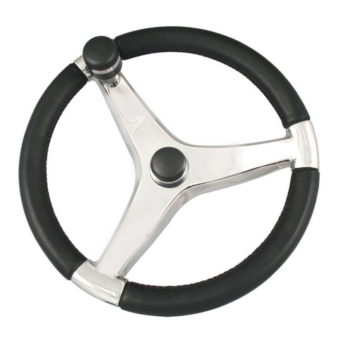 "Ongaro Evo Pro 316 Cast Stainless Steel Steering Wheel w/Control Knob - 15.5"" Diameter - Reel Draggin' Tackle"