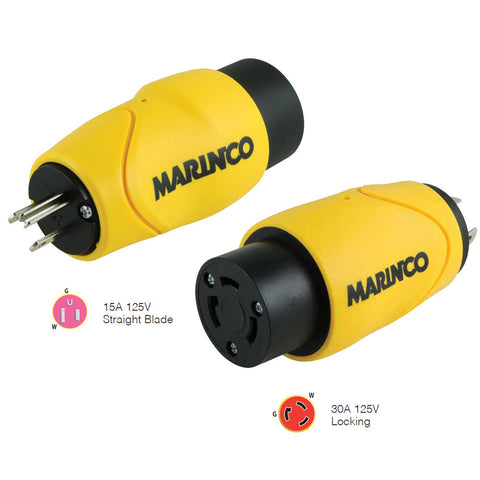 Marinco Straight Adapter 15Amp Straight Male to 30Amp Locking Female Connector - Reel Draggin' Tackle