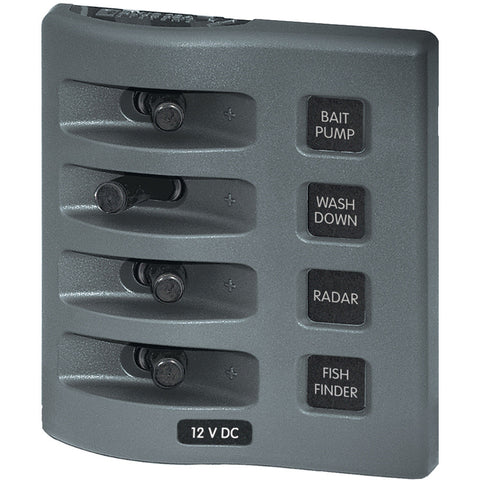 Blue Sea 4305 WeatherDeck® 12V DC Waterproof Switch Panel - 4 Posistion - Reel Draggin' Tackle