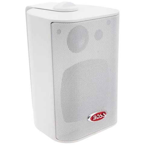 "Boss Audio MR4.3W 4"" 3-Way Marine Enclosed System Box Speaker - 200W - White - Reel Draggin' Tackle"