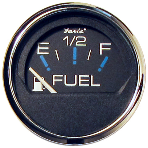 "Faria Chesapeake Black SS 2"" Fuel Level Gauge (E-1/2-F) - Reel Draggin' Tackle"