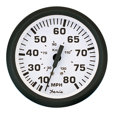 "Faria 4"" Speedometer - 80MPH (Mechanical) - Euro White - Reel Draggin' Tackle"