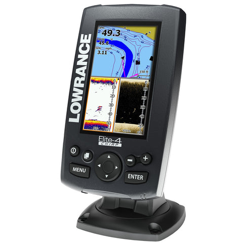 Lowrance Elite-4 Chirp Fishfinder/Chartplotter with Naviionics+ Chart No Transducer - Reel Draggin' Tackle