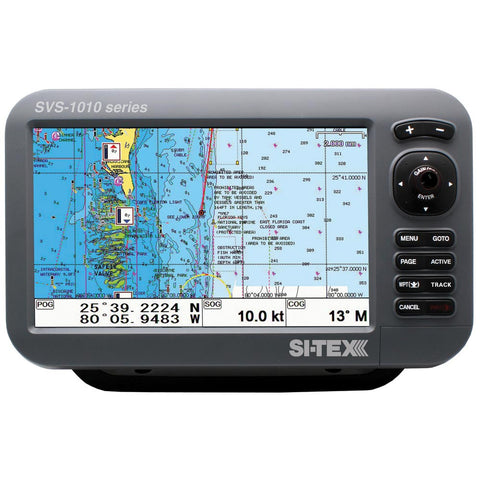 "SI-TEX SVS-1010C 10"" Chartplotter w/Internal GPS Antenna & Navionics+ Card - Reel Draggin' Tackle"