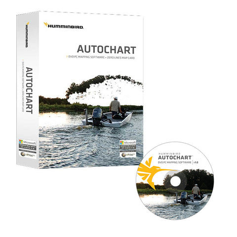 Humminbird Autochart DVD PC Mapping Software w/Zero Lines Map Card - Reel Draggin' Tackle