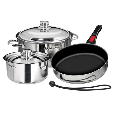 Magma Nesting 7-Piece Induction Compatible Cookware - Stainless Steel Exterior & Slate Black Ceramica Non-Stick Interior - Reel Draggin' Tackle