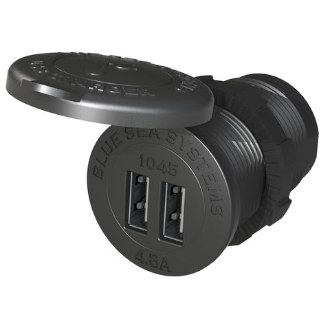"Blue Sea 1045 12/24V Dual USB Charger - 1-1/8"" Socket Mount - Reel Draggin' Tackle"