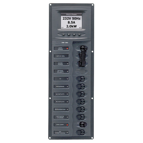 BEP AC Circuit Breaker Panel w/Digital Meters, 8SP 2DP AC230V ACSM Stainless Steel Vertical - Reel Draggin' Tackle