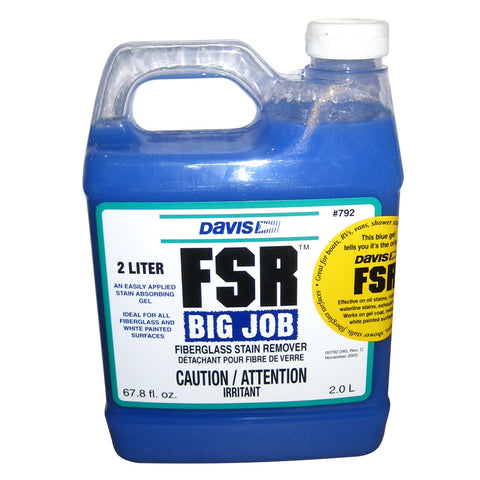 Davis FSR Big Job Fiberglass Stain Remover - 2-Liter - Reel Draggin' Tackle