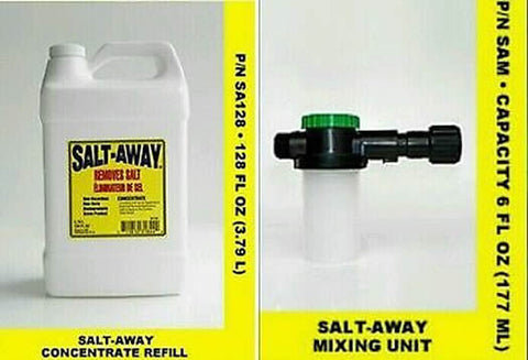 SALT AWAY, Gallon CONCENTRATE WITH 6oz MIXING UNIT plus one Universal motor flusher - Reel Draggin' Tackle - 1