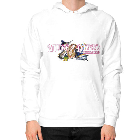 Hoodie (on man) White Reel Draggin' Tackle