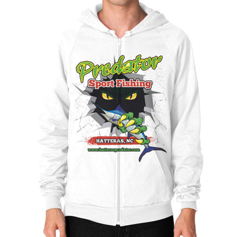 Zip Hoodie (on man) White Reel Draggin' Tackle