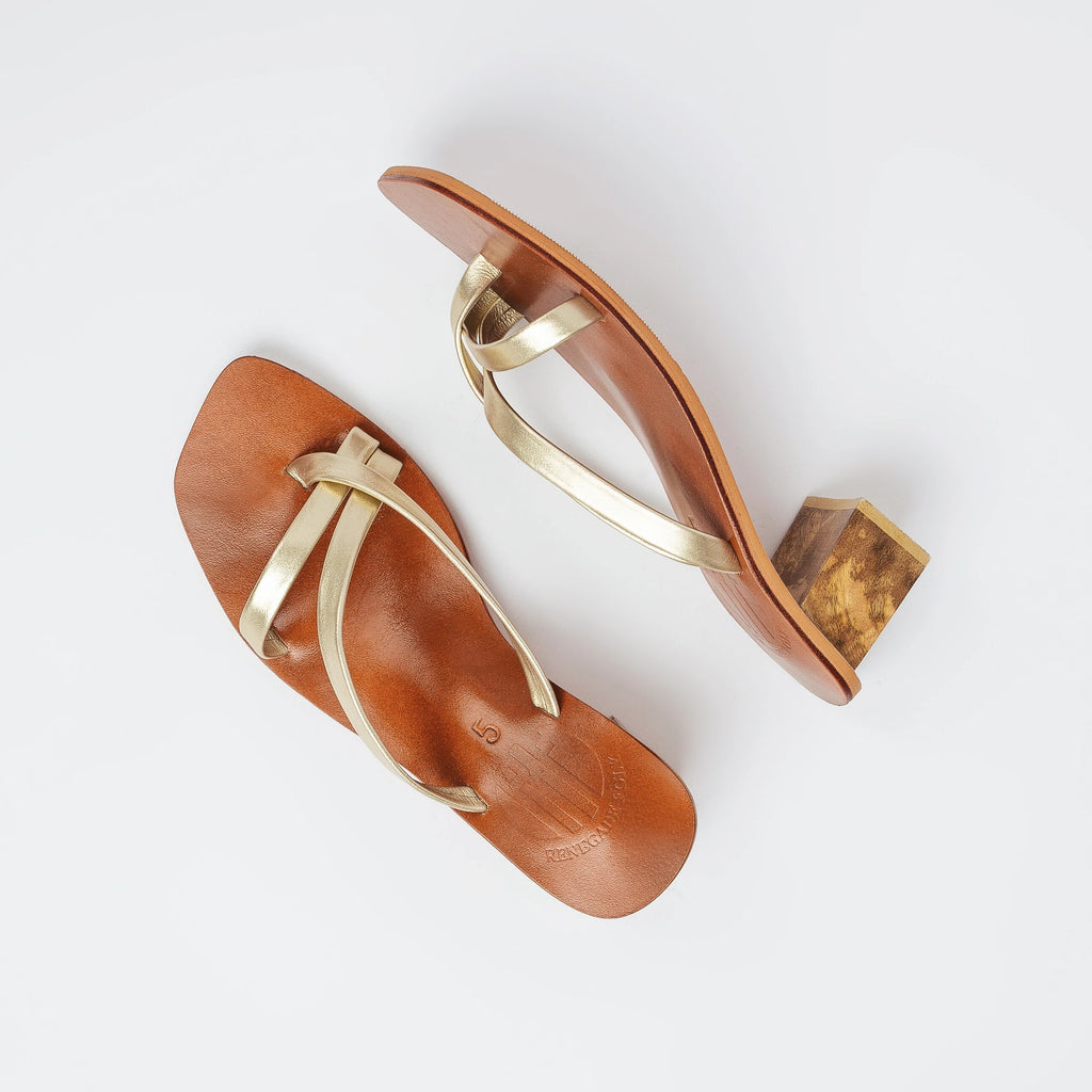 All Night Genuine Leather Slip On Block Heels in Gold Product