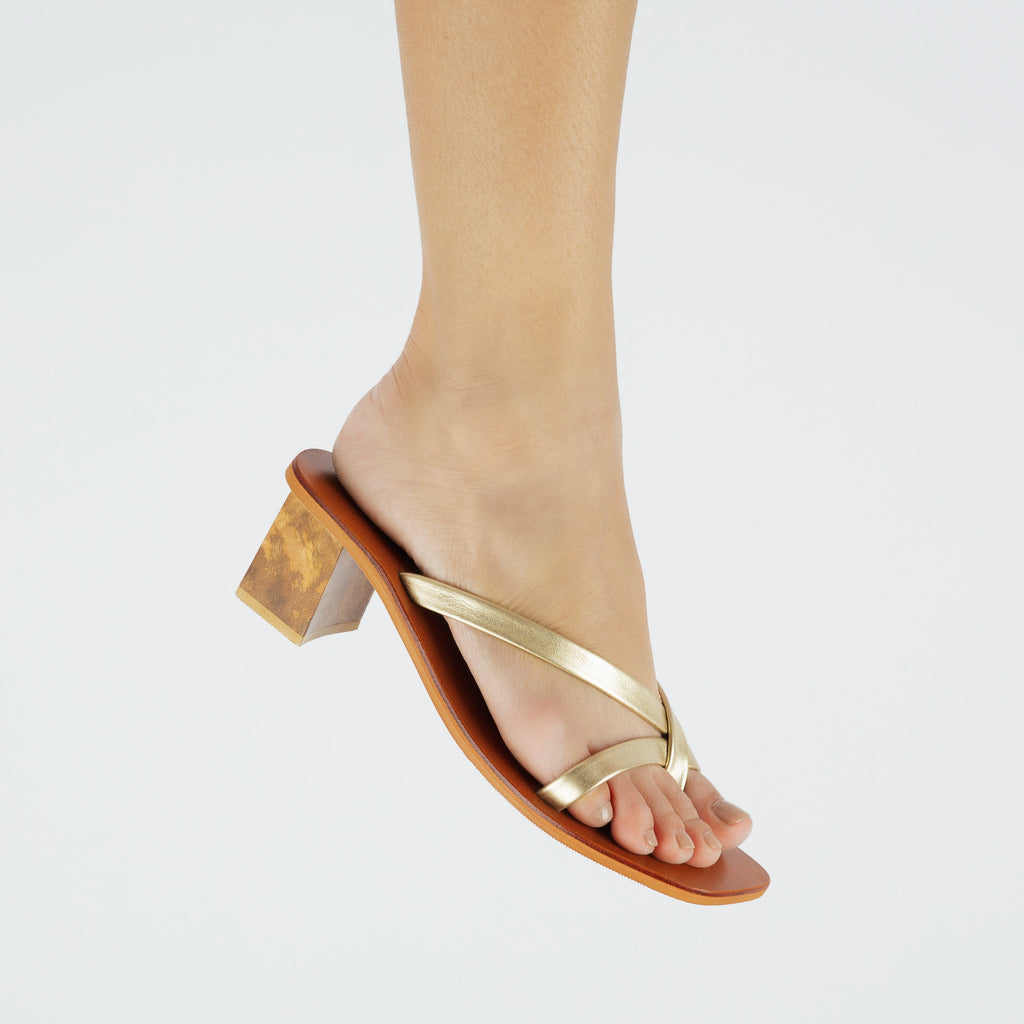 All Night Genuine Leather Slip On Block Heels in Gold Worn