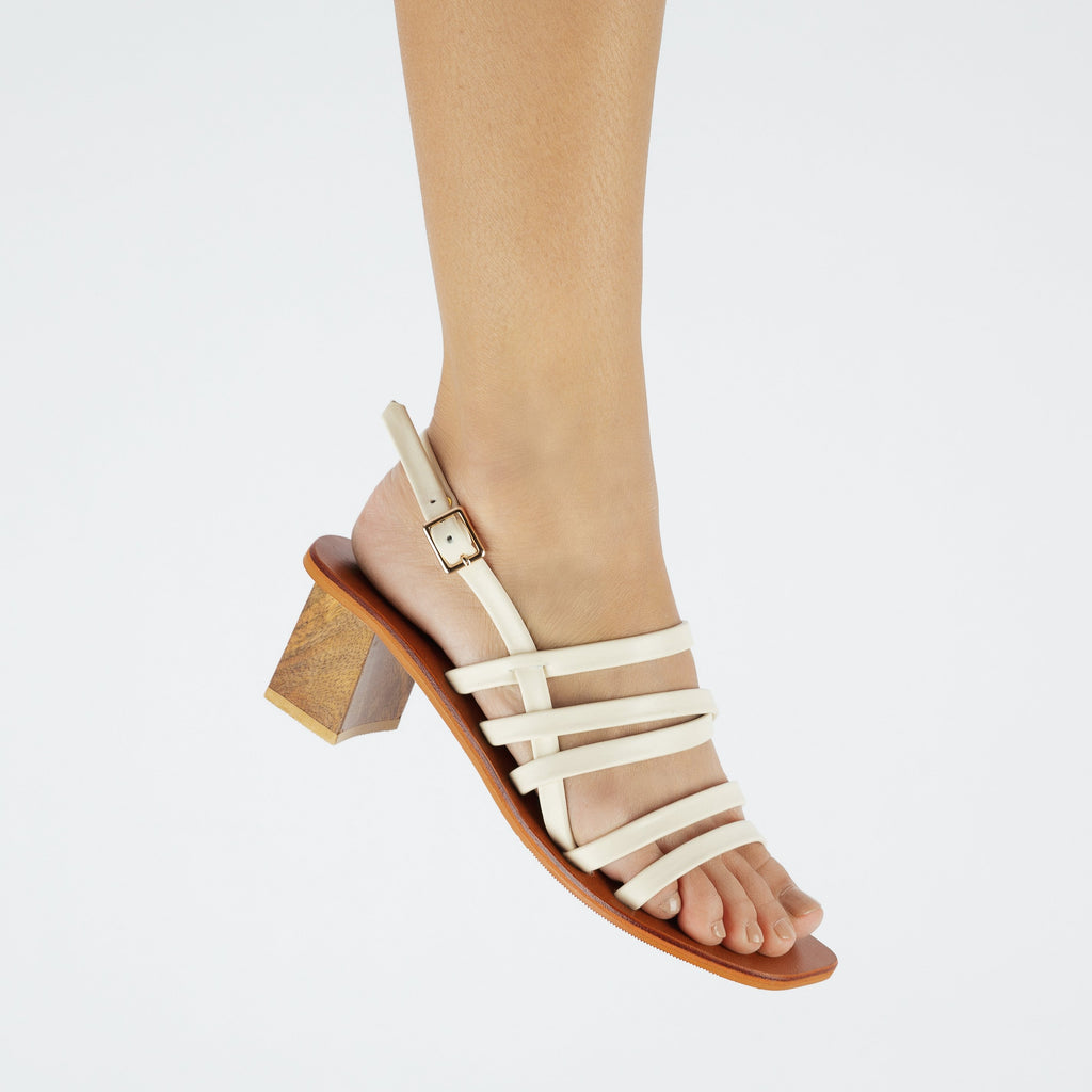 Good Times Genuine Leather Strappy Block Heels in White Worn