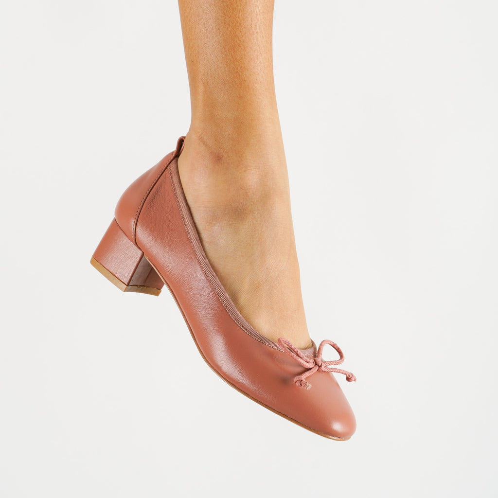 Upbeat Genuine Leather 1.5 Inch Work Heels in Dark Blush When Worn