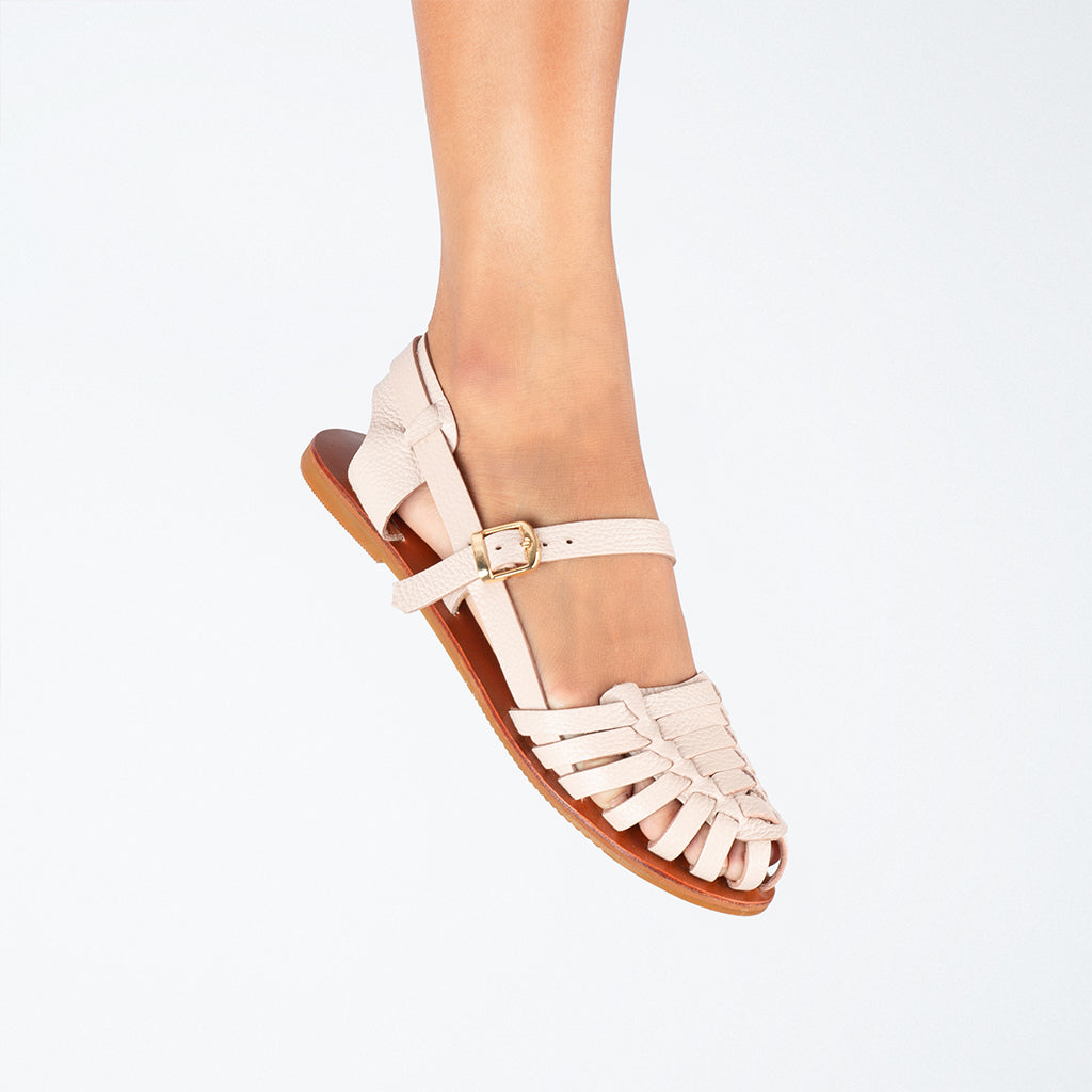 Formation Genuine Leather Sandals with Rubber Outsoles in Nude