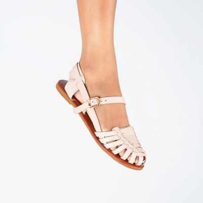 Formation Genuine Leather Sandals with Rubber Outsoles in Nude (4762229407879)