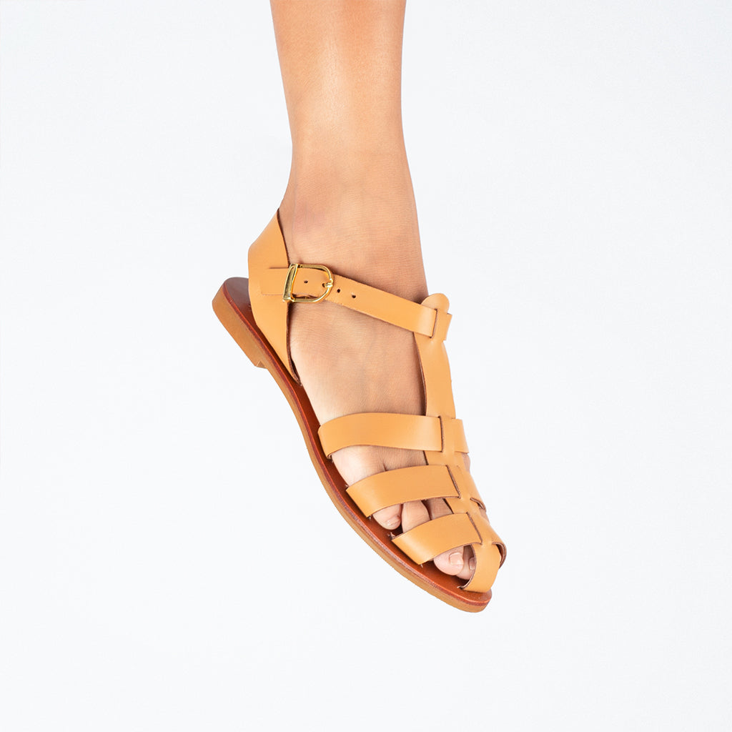 XO Genuine Leather Sandals with Rubber Outsoles in Ochre