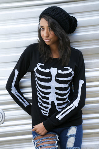 Skeleton Pullover - Black