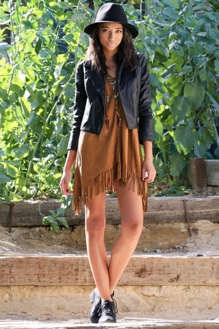 Indie Fringe Faux Suede Tunic Second